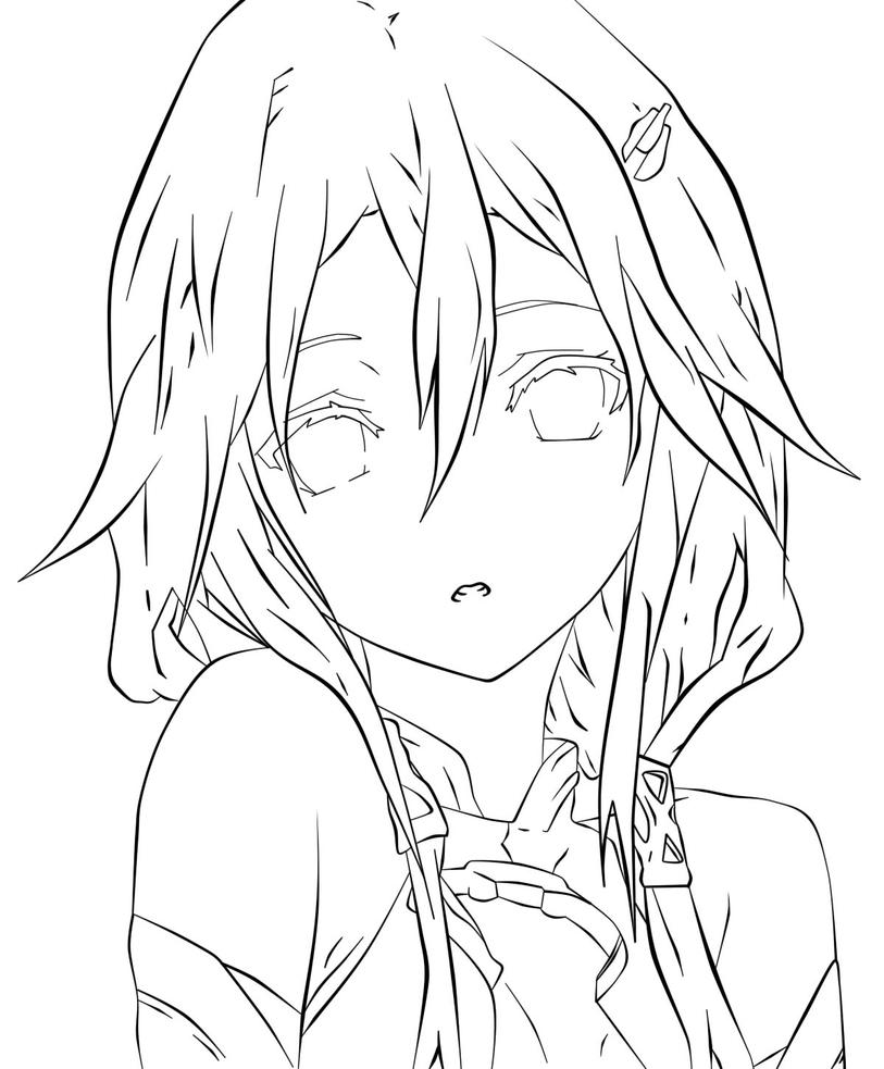 Digital Painting Line Art : Inori yuzuriha guilty crown digital lineart by