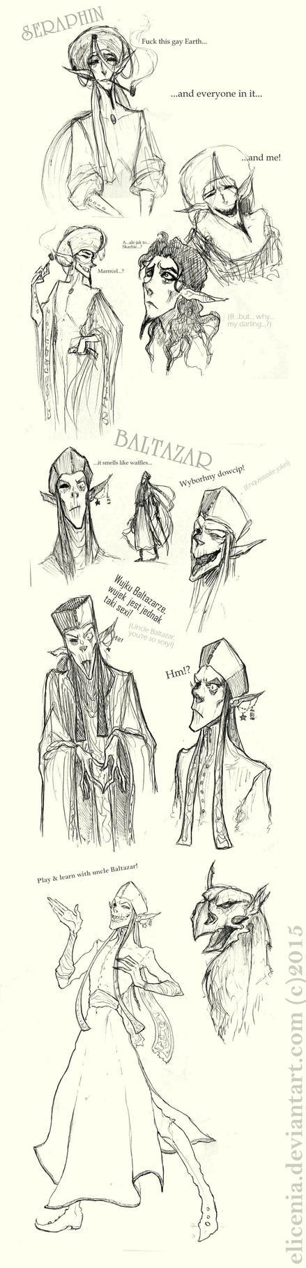 Seraphin and Baltazar sketchdump by elicenia
