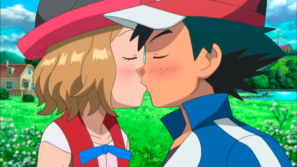 Serena and ash kiss