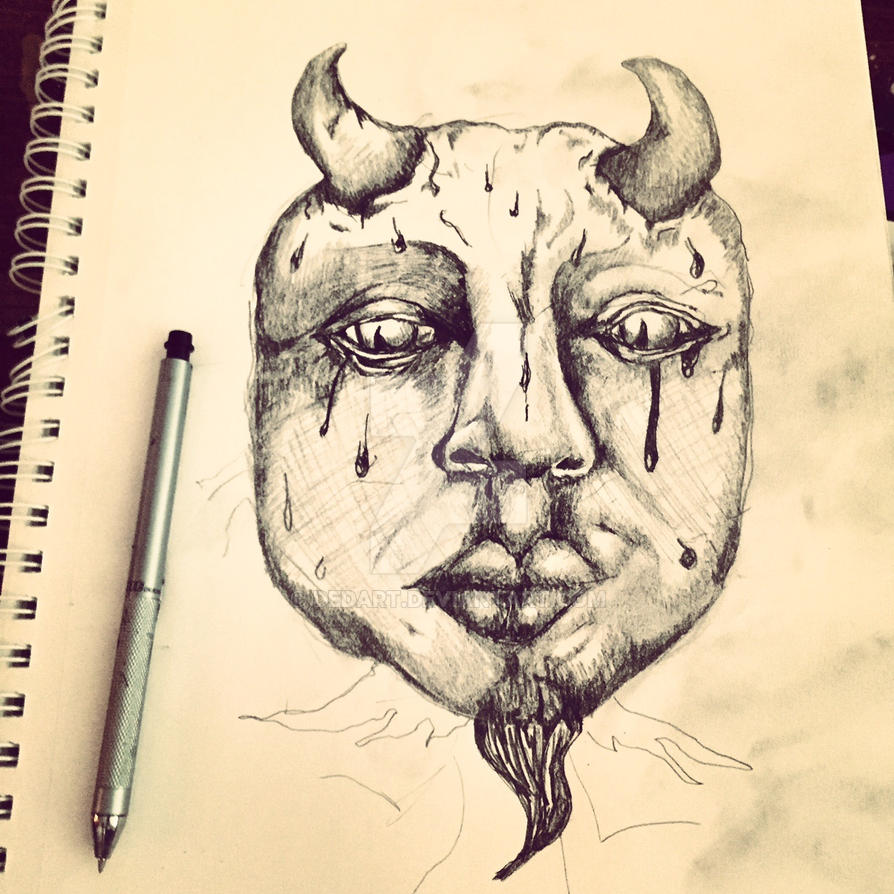 Self Portrait Inadverntly Turned Into Satan by DEDArt