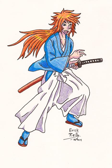 Kenshin in Colored Pencil by Erikku8