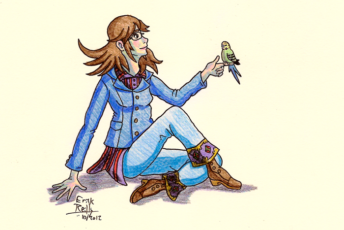 Kierra Has a Budgie in Colored Pencil by Erikku8