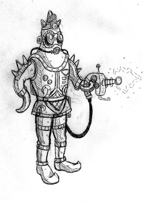 Steampunk Starman Sketch E8 by Erikku8