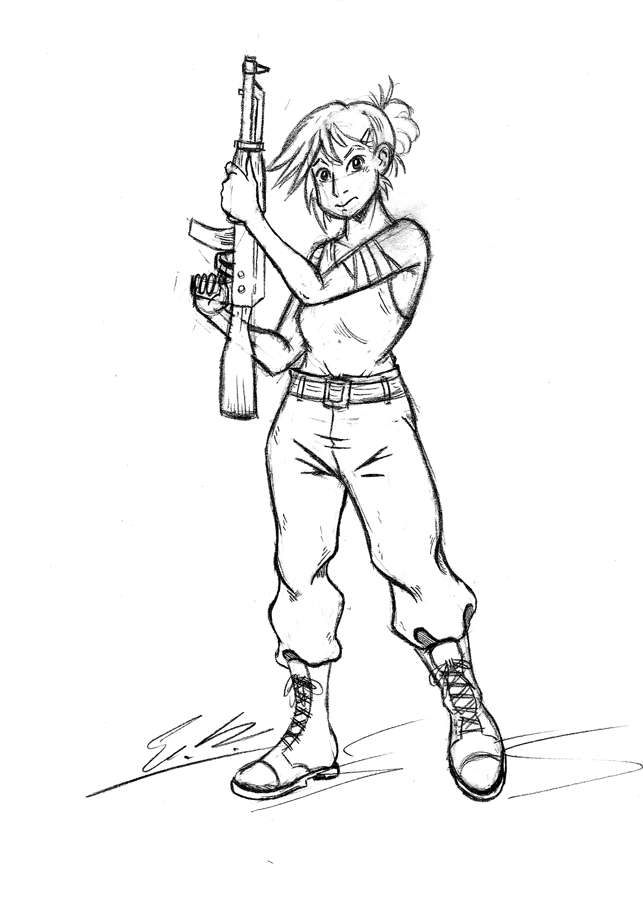 Army Girl Pencils by Erikku8