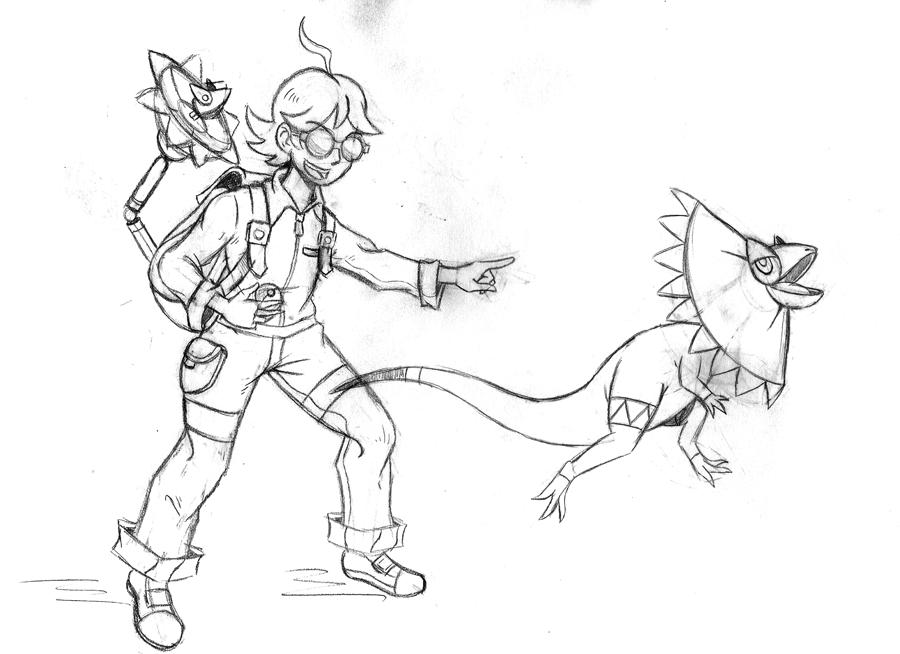 Clemont and Heliolisk Sketch by Erikku8