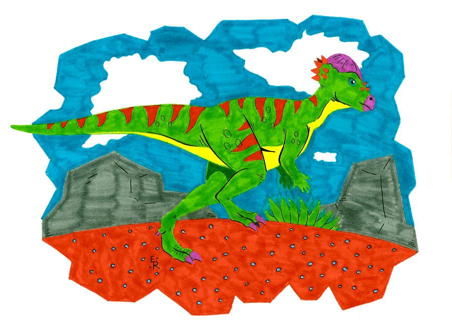 Pachycephalosaurus by Erikku8