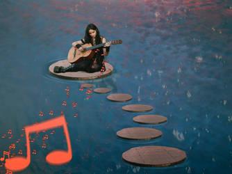 Singing in the lake at sunset by bireni