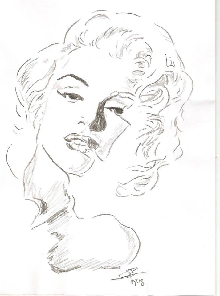 It is a photo of Intrepid Marilyn Monroe Drawing Outline