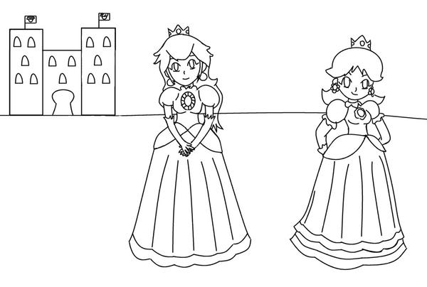 daisy and peach coloring pages coloriage - Rosalina Peach Coloring Pages