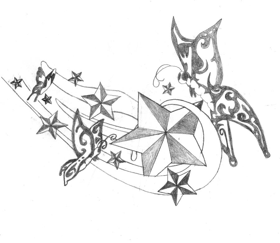 Stars And Butterflies Tattoo Design By Breakaway13 On