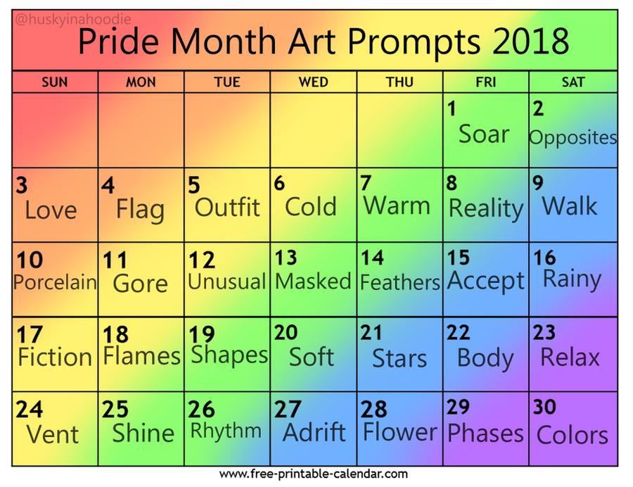 June Calendar Writing Prompts : Pride month art prompts by mythicalkatt on deviantart