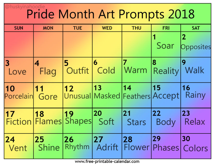 Pride Month Art Prompts 2018