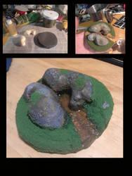 Miniature, water and stone by DABurgosART