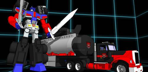 Laser Optimus Prime by kaxblastard