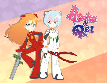 Asuka and Rei with Evangelion