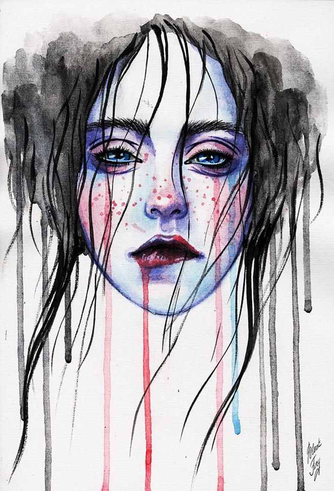 Watercolor tears by BlackFurya