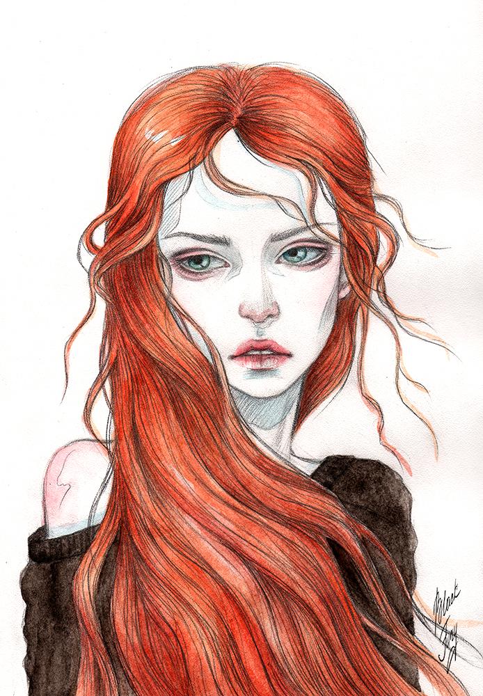 Wind in the fiery hair by BlackFurya