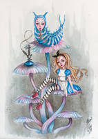Alice and the caterpillar by BlackFurya