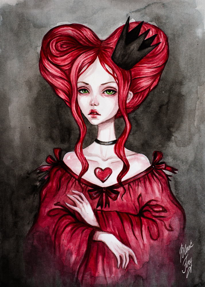 how to draw alice in wonderland queen of hearts