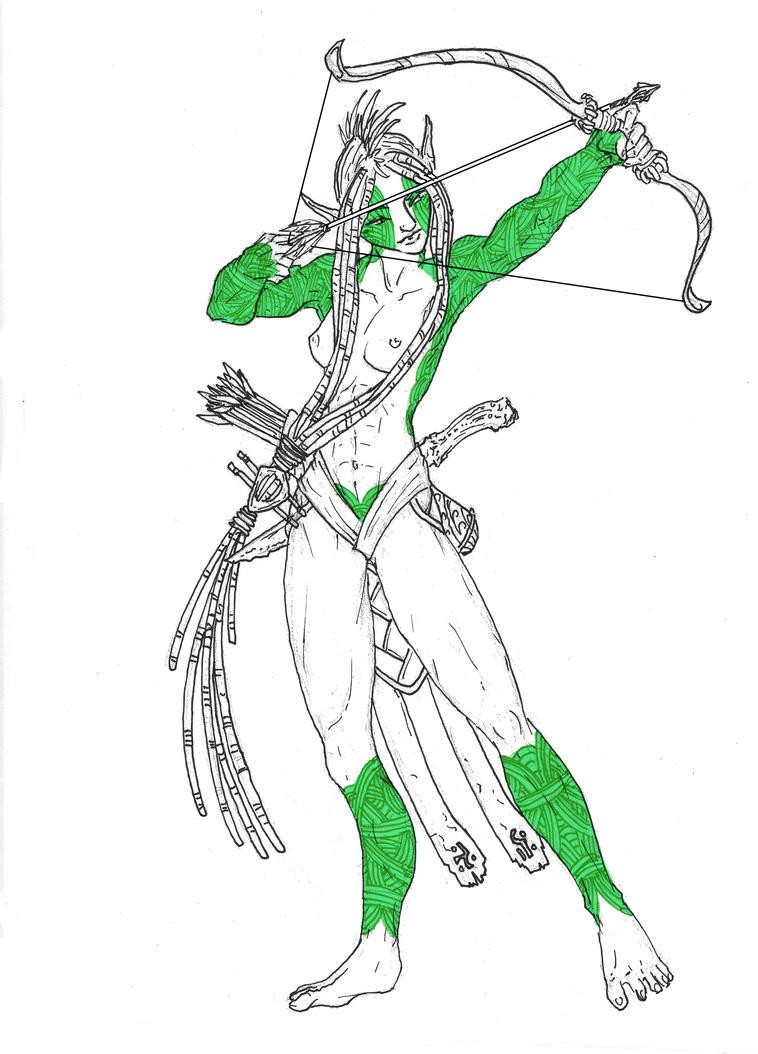 Ysye'an the Elf Archer WIP by LadyRedfingers