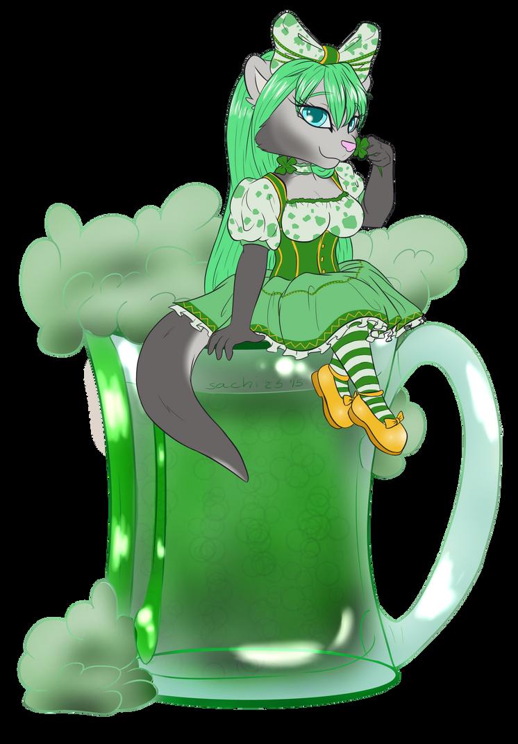 YCH: Green Beer Kawamiko by EgyptianDragon1