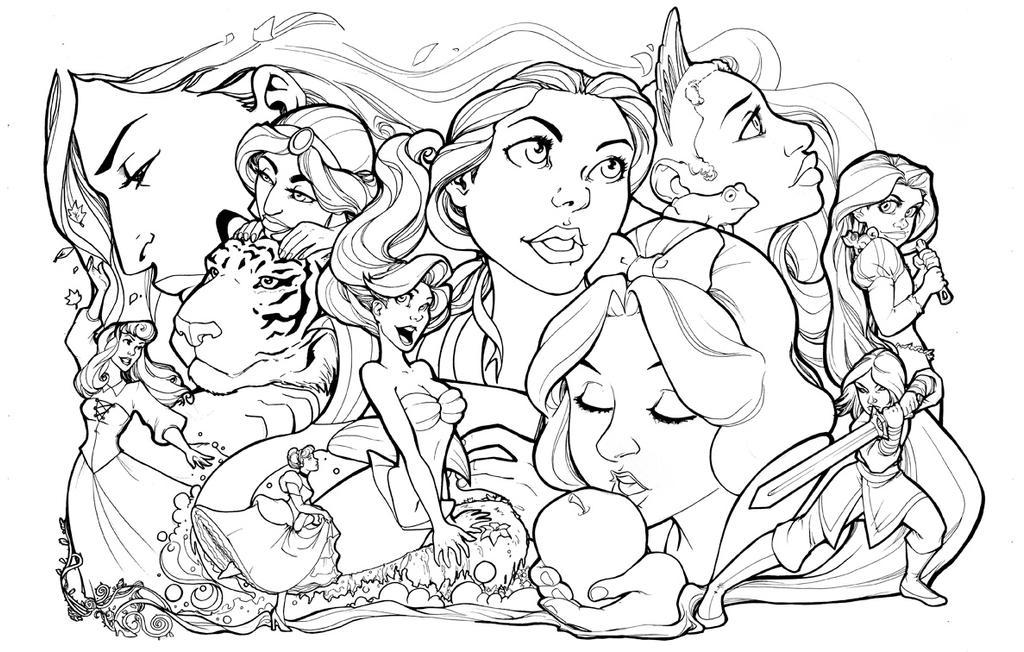 Line Drawing Disney : Disney princesses lineart by comfortlove on deviantart