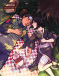 Iruka and Shizune in love under a tree