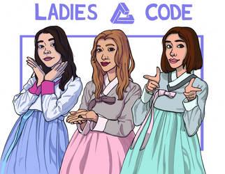 Inktober 2018, day 11, Ladies Code! Coloured!