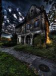 House in sundown light