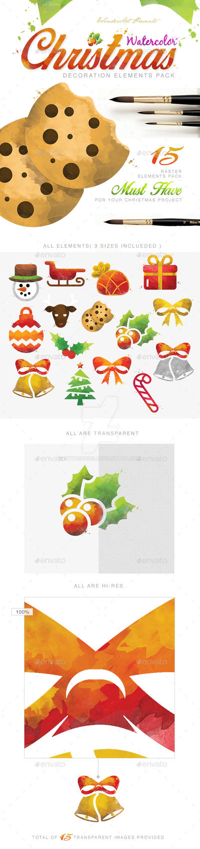 Watercolor Christmas Decoretive Elements Pack by sktdesigns