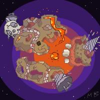 Pixel planet+FIRE by boultim
