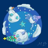 Pixel planet+snow by boultim
