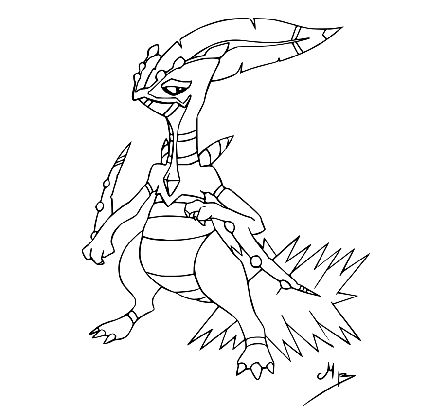 Treecko Grovyle Sceptile Coloring Page Coloring Pages
