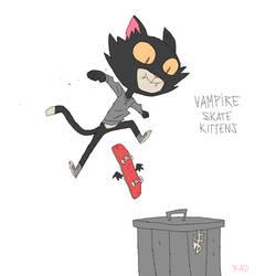 Vampire Skate Kitten by radsechrist