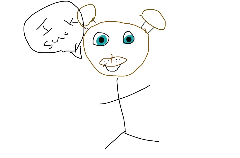 A very VERY crappy drawing of Freddy fazbear by