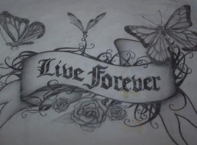 Live Forever - chest tattoo