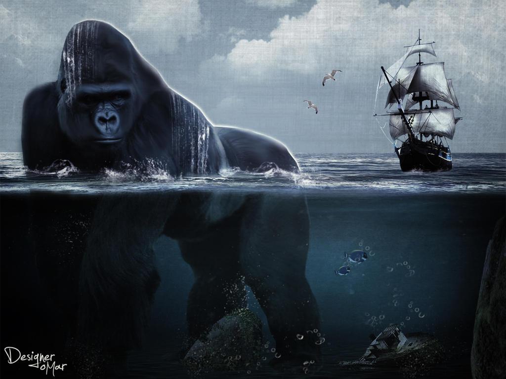 king kong in the ocean by DesignerOMar