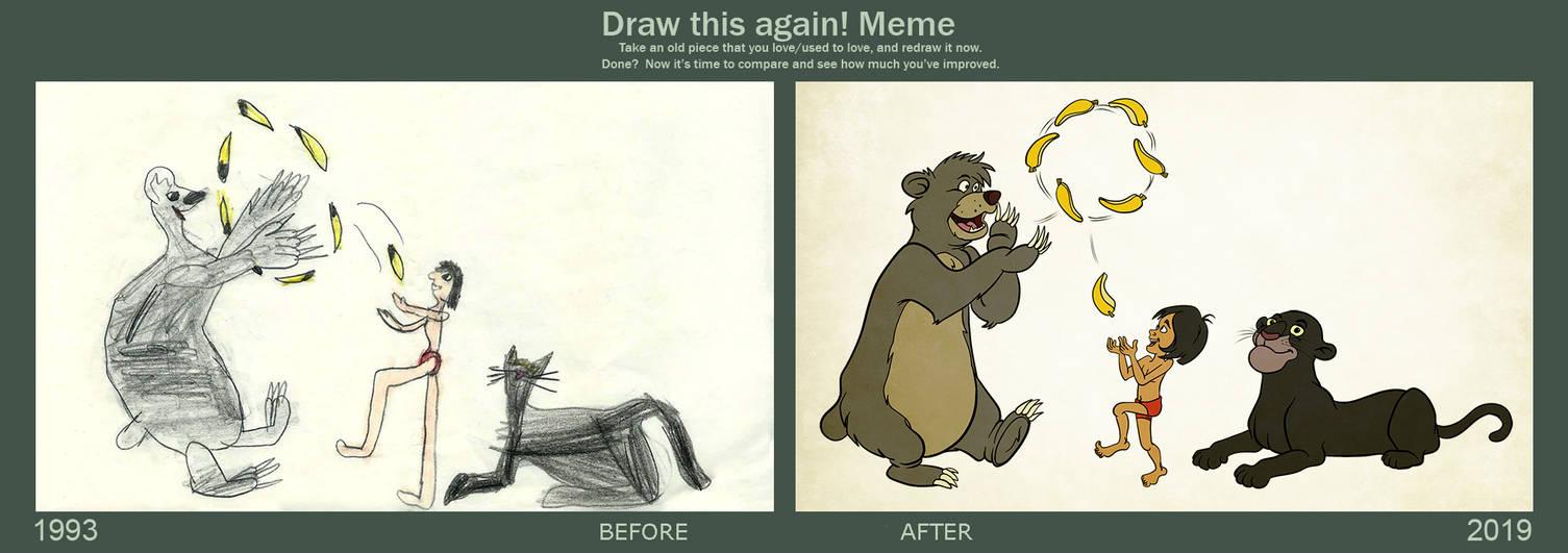 Draw it again: Baloo, Mowgli, Bagheera and Bananas by Tabascofanatikerin