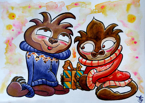 Christmas with Hermilotte and Shmuel (Sloth OCs)