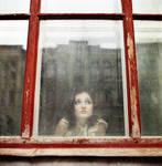 Miroslava through the glass