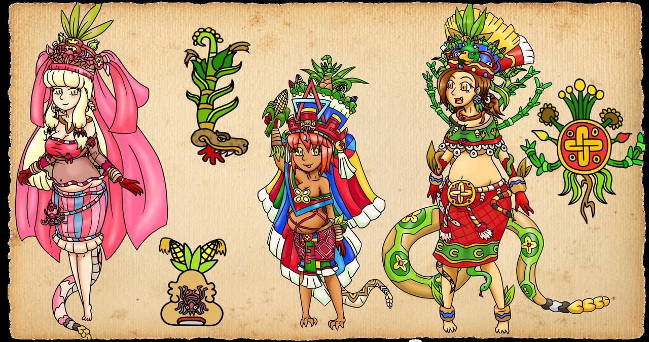 Xilonen, Cinteutl y Chicomecoatl by ah-puch-zegno