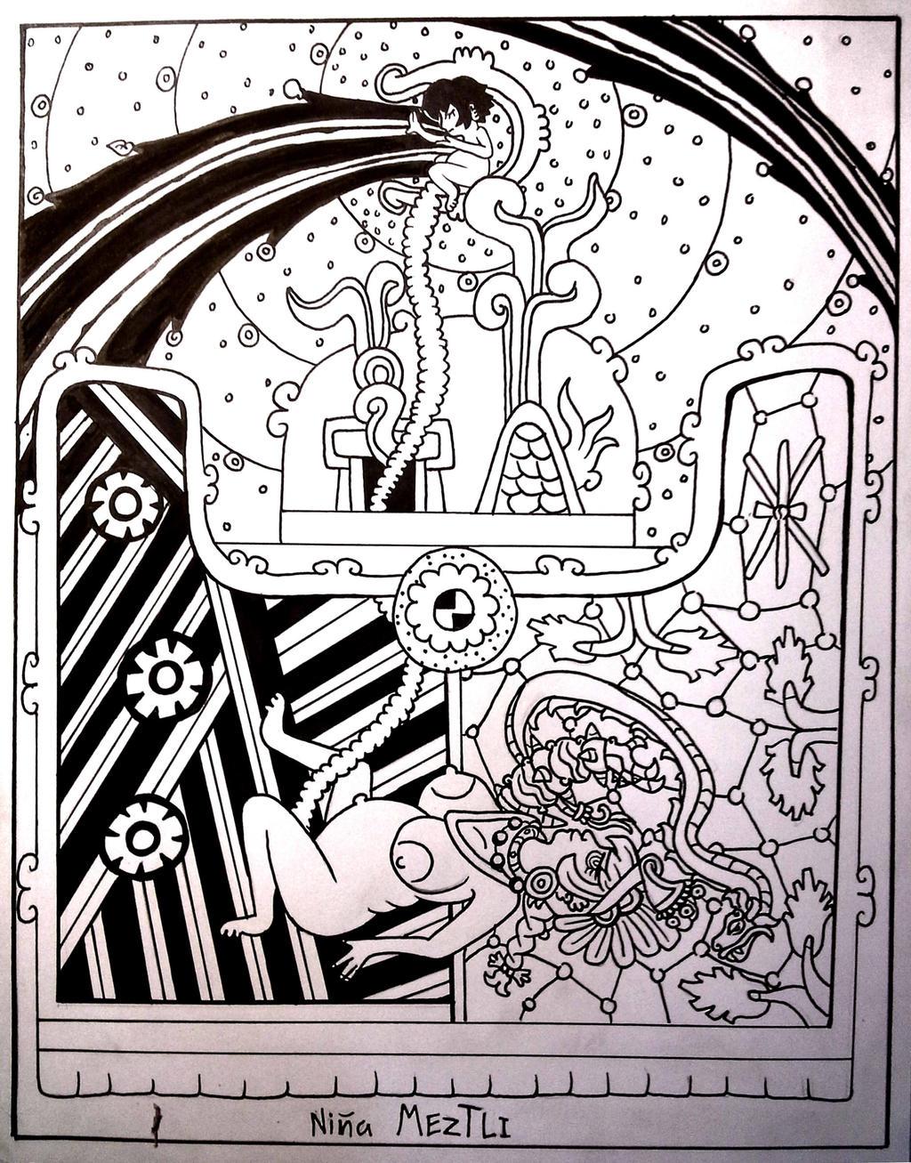 El nacimiento de Meztli. by ah-puch-zegno