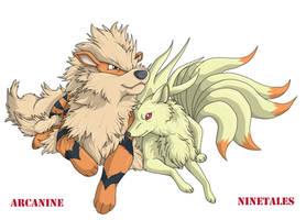 Arcanine and Ninetales by PrinzeBurnzo