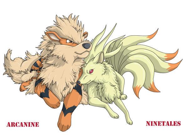 Arcanine and Ninetales by PrinzeBurnzo on DeviantArt