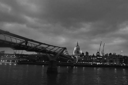 St Pauls And The Millennium Bridge In Mono