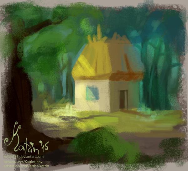 Forest hut by Katrintinny