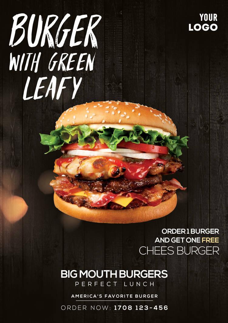 Burger Ad Free PSD Flyer Template by pixelsdesign-net