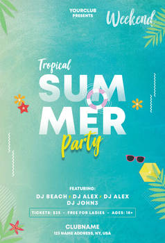 Summer and Tropical Free PSD Flyer Template