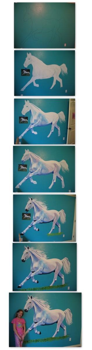 Horse Mural Progression by dawgart