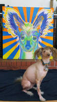 Doodles and his portrait by dawgart